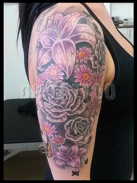 tattoo blume sterne good lilie blte tattoo blumenranke. Black Bedroom Furniture Sets. Home Design Ideas