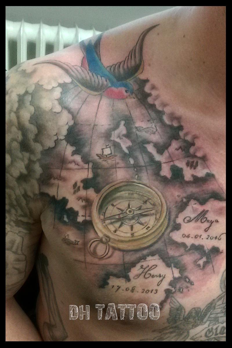 Uhren Kompass Landkarte Tattoos Tattoo Motive Dh Tattoo